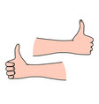 thumbs up line art gesturing as concept of vector image