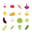 Vegetables silhouette icons Set Carrots an vector image