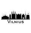 Vilnius City skyline black and white silhouette vector image