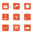 watch over icons set grunge style vector image vector image
