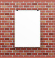 white blank paper sheet raw red brick wall vector image vector image