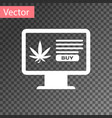 white computer monitor and medical marijuana or vector image vector image