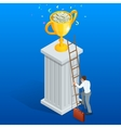 Win trophy success movement through obstacle flat vector image