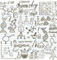 Chemistry and sciense elements doodles icons set vector image