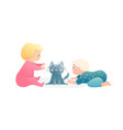 adorable toddlers kids boy and girl playing vector image
