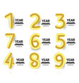 baloons numbers set golden air balls for vector image