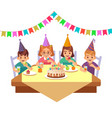 birthday happy child children in fective cone vector image