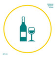 bottle of wine and wineglass icon graphic vector image