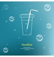 Bubbles with straw on blue background vector image vector image