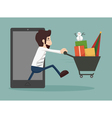 Businessman online shopping e-commerce concept vector image vector image