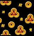 chinese seamless pattern with feng shui coins vector image vector image