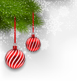 Christmas background with hanging glass balls and vector image vector image