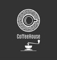 coffee cup logo coffeehouse label with coffee vector image vector image