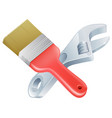 crossed spanner and paintbrush tools vector image