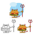 devil burger holding a trident collection set vector image vector image
