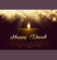 diwali background with bokeh lights and oil lamp vector image vector image