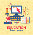 education poster with various school supplies vector image vector image
