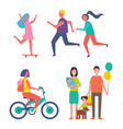 family and running couple vector image vector image