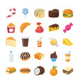 food and drinks flat icons vector image