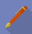 Fountain pen icon Modern Flat style with a long vector image vector image