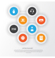 gadget icons set collection of web printing vector image vector image