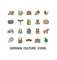 german culture sign color thin line icon set vector image vector image