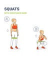 girl doing squats with resistance band silhouettes vector image vector image