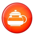 Glass teapot icon flat style vector image vector image