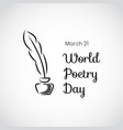 greeting card world poetry day vector image