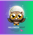 halloween night greeting card with owl vector image vector image