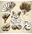 Hand Drawn Carnival Design Elements vector image
