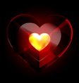 heart crystal and golden heart vector image vector image