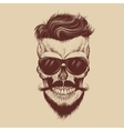 Hipster skull with sunglasses mustache and beard vector image vector image