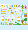 kawaii easter clip art set vector image