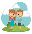 little kids in the park characters vector image vector image