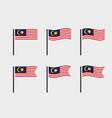 malaysia flag symbols set national flag icons vector image
