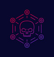 malware cyber attack or virus line icon vector image