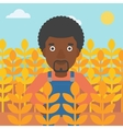 Man in wheat field vector image vector image
