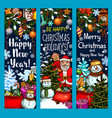 merry christmas santa gifts sketch banners vector image vector image