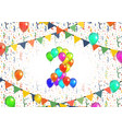number two made up from bright colorful balloons vector image