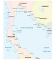 outline map gulf thailand vector image