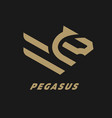 pegasus flying horse linear logo on a dark vector image