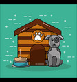 pet dog house and bowl food image vector image
