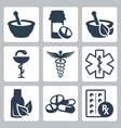 pharmacy medicine icon set vector image