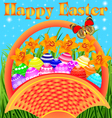 postcard with Easter eggs vector image