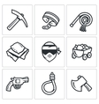 Quarry and slavery icons set vector image