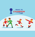 road to champion for red soccer team vector image
