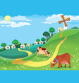 rural landscape with grazing cows in the meadow vector image vector image