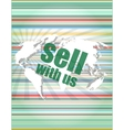 Sell with us word on digital screen