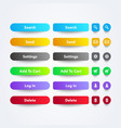 set clean colorful web app buttons with symbols vector image vector image
